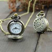 New Antique Vintage Bronze Tone Pocket Chain Quartz Pendant Watch Necklace  7_S