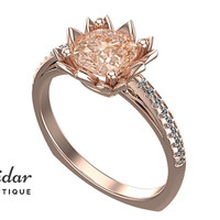 Flower Engagement Ring,Unique Engagement Ring,diamond Engagement Ring,cushion,Morganite Engagement Ring,lotus,floral,rose gold Ring