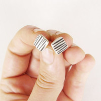 Sterling Silver Square Zebra Stud Earrings - Square Ear Studs with black stripes - Black and silver - Zebra texture - Contemporary Jewelry