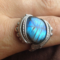 SIZE 8.75 Labradorite Sterling Silver Wire Wrapped Ring Handmade USA