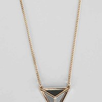 Caged Pyramid Necklace- Gold One