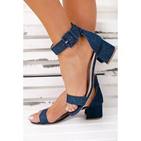 A Lady With Class Simple Heels (Blue Denim)