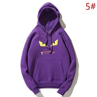 Fendi Autumn And Winter New Fashion Bust Eye Mouth Print Women Men Keep Warm Hooded Long Sleeve Top Sweater Purple