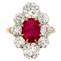 Antique Natural Unenhanced Burmese Ruby Diamond Cluster Ring c1905