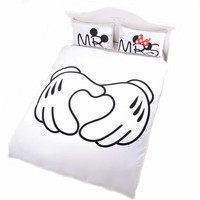 Cool white mickey minnie mouse bedspreads king queen full twin size morden cartoon bedding set 3 piece duver/quilt cover pillow casesAT_93_12