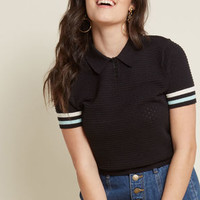 Flying Polo Short Sleeve Sweater in Black