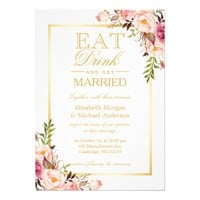 EAT Drink and Be Married Chic Gold Floral Wedding Card