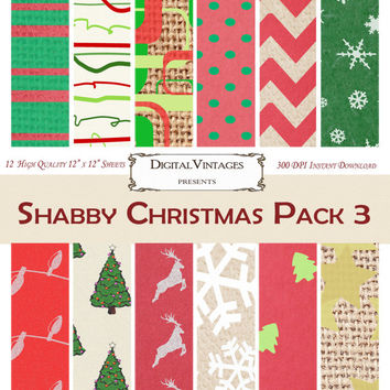 Christmas Digital Paper, Burlap Background Paper, Shabby Chic Christmas Paper, Distressed Christmas Paper, digital background paper, Rustic