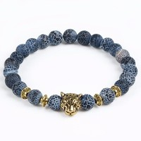 Blue & White Natural Stone Bracelet with Gold Leopard Charm