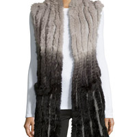 Ombre High-Low Rabbit-Fur Vest, Black