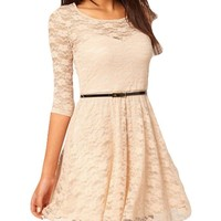 Bluetime Womens Casual Half Sleeve Round Neck High Waist Lace Party Dress with Belt