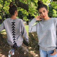 Lace Up Back Sweater (Gray) - Women's Autumn Winter Hoodies Top Long Sleeve Back Lace up Casual Jumper Tops
