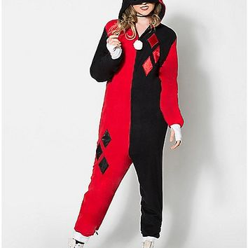 Harley Quinn Dropseat Hooded Adult One Piece Pajamas - Spencer's