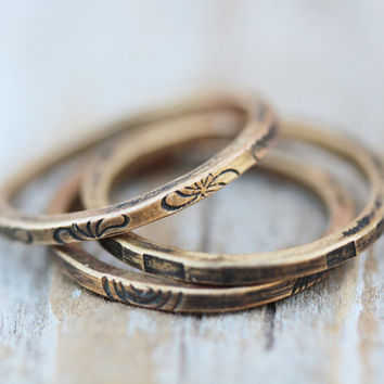 THREE Patterned, Textured and Oxidized Square Stacker Rings - Set of 3 in Red Brass/Nu Gold
