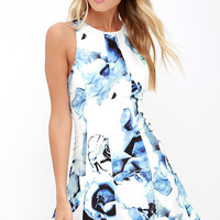 Crystal Formation Ivory and Blue Floral Print Dress