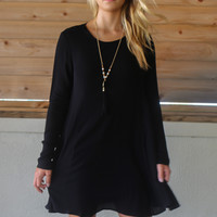 Where I Belong Black Long Sleeve Dress