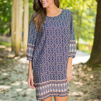 Borders And Prints Dress, Navy