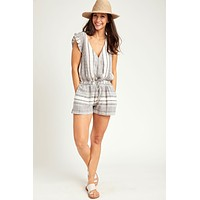 Love Stitch Stripe Flutter Sleeve Romper