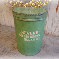 1940's revere brown sugar canister / vintage green collectible tin