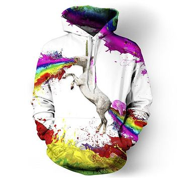 Unicorn Paints the Rainbow Pullover Hoodie