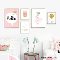 Baby Girl Room Decor Wall Art Paintings Posters And Prints Baby Room Wall Decoration Cartoon Pink Decoracion Nordica Unframed