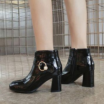 Round Toe Women's High Heeled Ankle Boots