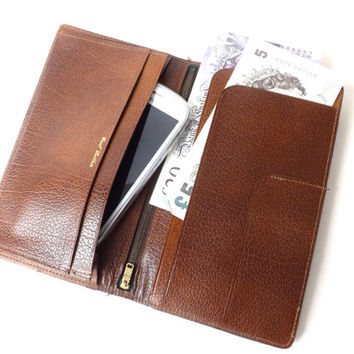 Vintage Brown Leather Wallet, Bill Fold, Money Holder / Cell Phone Case / Leather Purse / Groomsman Male Gift / English Dress Wallet