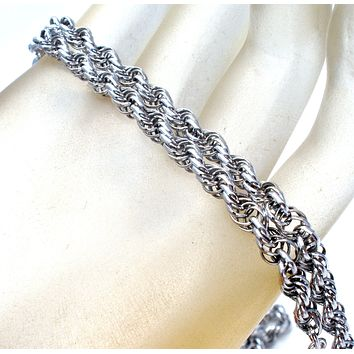 "Sterling Silver Rope Link Necklace 18"" Vintage"