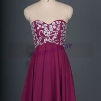 Short plum chiffon homecoming dress with sequins,cute sweetheart women gowns for holiday party,chic cheap prom dresses under 150.