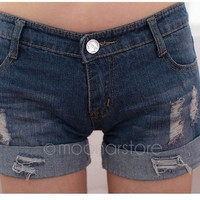 Women's Old Style Dark Blue Low Waist Hollow Edge Flanging Short Trousers Jeans Hot Pants = 1929697348
