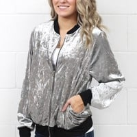 Shiner Crushed Velvet Bomber Style Jacket {Silver Grey}
