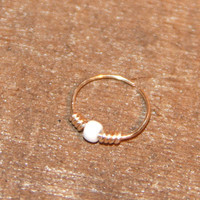 Extra Small Sterling Silver Nose Ring, White Beaded Nose Ring, Nose Hoop, Hoop Earring, Cartilage Hoop, Seamless Hoop, Piercing Jewelry