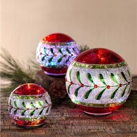 LED-Lighted Table Christmas Balls, Set of 3 in Indoor Holiday Decorations