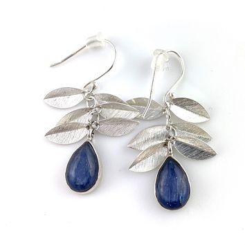 Kyanite Leaf Sterling Silver Earrings