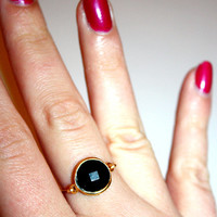 una - gold black onyx ring by lilla stjarna - gifts under 50 - delicate gold ring - black onyx ring, 14k gold jewelry - handmade bezel ring