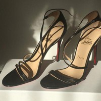 Christian Louboutin Gwynitta Black Crisscross Red-Sole Sandal Black EU 38