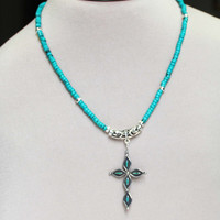 Sterling Cross Pendant, Vintage Turquoise Pendant, Sterling Silver Necklace, Natural Turquoise,  Roundel Beads, Gem Glasp, Petite necklace