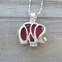 Red Sea Glass  Elephant Locket Necklace Crimson Ruby