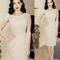 Beige Sleeveless Midi Pencil Dress