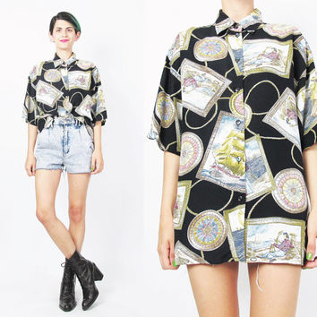 80s 90s Nautical Blouse Novelty Print Shirt Boats Pirate SHIPS Short Sleeve Blouse Womens Collared Button Down Shirt Navy Blue Blouse (L)