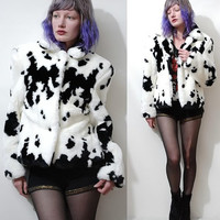 90s Vintage COW PRINT Jacket Soft Fluffy Faux Fur Plush Black White Coat Kawaii Club Kid Crop Cropped vtg 1990s xs s m
