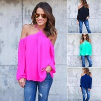Women Cut Out Cold Shoulder Casual Loose Long Sleeve T-Shirt Blouse Top