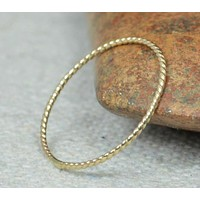 Thin Solid 14k Gold Twist Stackable Ring