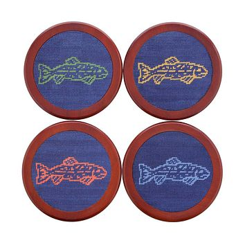 Catch of the Day Needlepoint Coasters by Smathers & Branson