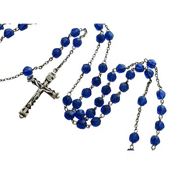 Sterling Silver Cobalt Blue Faceted Rosary Beads Our Lady of Fatima Vintage Rosaries 5 Decade
