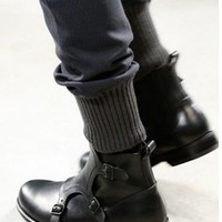 Handmade mens triple monk strap leather boots, Mens black leather boots, Black leather boot for men