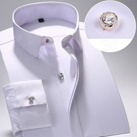 Summer new Men Solid cotton Long Sleeve Dress Shirts Men's Shirt Casual Male fitted Shirts men Slim Fit Shirts For Men