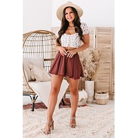 Counting Compliments Flared Satin Shorts (Sienna)