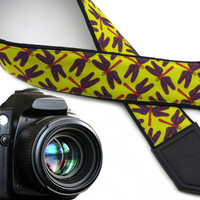 Dragonfly camera strap. Flying adders on Bright Green DSLR / SLR Camera Strap. Camera accessories by InTePro