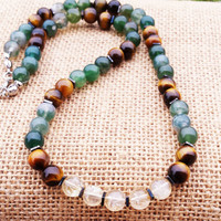 ABUNDANCE Wealth Money Beaded Stones Necklace Men Women Necklace Gemstone Necklace Citrine Tiger Eye Moss Agate Necklace Gifts For Him